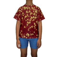 Background Design Leaves Pattern Kids  Short Sleeve Swimwear