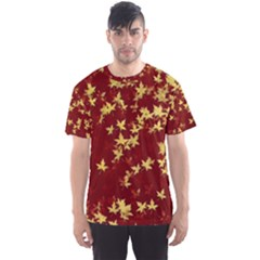 Background Design Leaves Pattern Men s Sport Mesh Tee