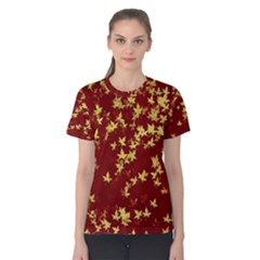 Background Design Leaves Pattern Women s Cotton Tee