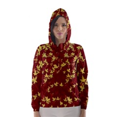 Background Design Leaves Pattern Hooded Wind Breaker (Women)