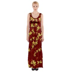 Background Design Leaves Pattern Maxi Thigh Split Dress