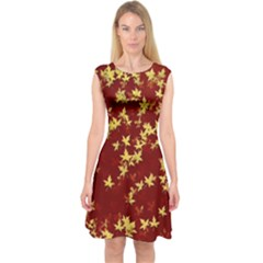 Background Design Leaves Pattern Capsleeve Midi Dress
