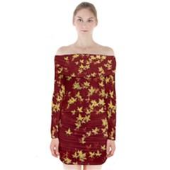 Background Design Leaves Pattern Long Sleeve Off Shoulder Dress