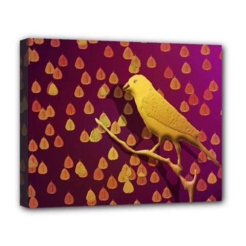 Bird Design Wall Golden Color Deluxe Canvas 20  x 16