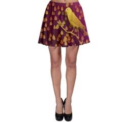 Bird Design Wall Golden Color Skater Skirt