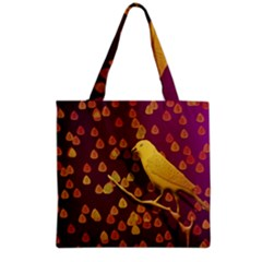 Bird Design Wall Golden Color Grocery Tote Bag