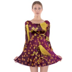 Bird Design Wall Golden Color Long Sleeve Skater Dress