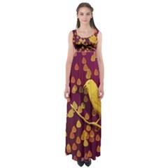 Bird Design Wall Golden Color Empire Waist Maxi Dress