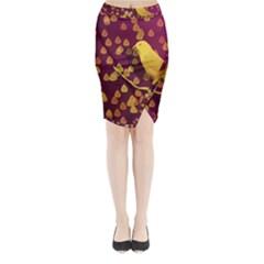 Bird Design Wall Golden Color Midi Wrap Pencil Skirt