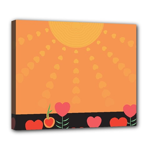 Love Heart Valentine Sun Flowers Deluxe Canvas 24  x 20