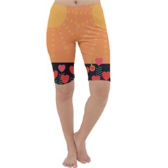 Love Heart Valentine Sun Flowers Cropped Leggings