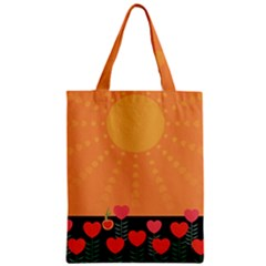 Love Heart Valentine Sun Flowers Zipper Classic Tote Bag