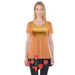 Love Heart Valentine Sun Flowers Short Sleeve Tunic