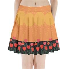 Love Heart Valentine Sun Flowers Pleated Mini Skirt