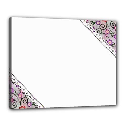 Floral Ornament Baby Girl Design Canvas 20  x 16