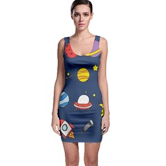 Space Background Design Sleeveless Bodycon Dress