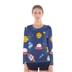 Space Background Design Women s Long Sleeve Tee