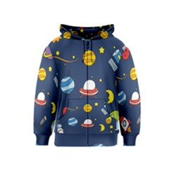 Space Background Design Kids  Zipper Hoodie