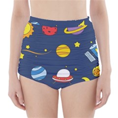 Space Background Design High Waisted Bikini Bottoms