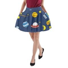 Space Background Design A-Line Pocket Skirt