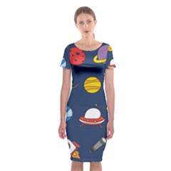Space Background Design Classic Short Sleeve Midi Dress