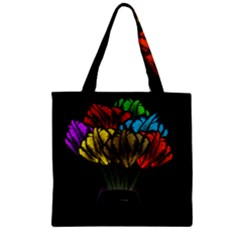 Flowers Painting Still Life Plant Zipper Grocery Tote Bag