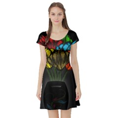 Flowers Painting Still Life Plant Short Sleeve Skater Dress