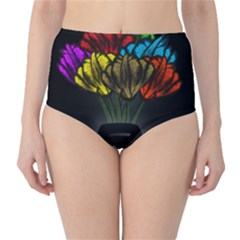 Flowers Painting Still Life Plant High-Waist Bikini Bottoms