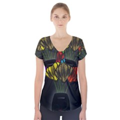 Flowers Painting Still Life Plant Short Sleeve Front Detail Top