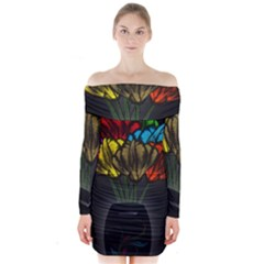 Flowers Painting Still Life Plant Long Sleeve Off Shoulder Dress