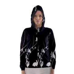Plant Flora Flowers Composition Hooded Wind Breaker (Women)