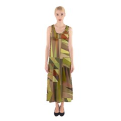 Earth Tones Geometric Shapes Unique Sleeveless Maxi Dress