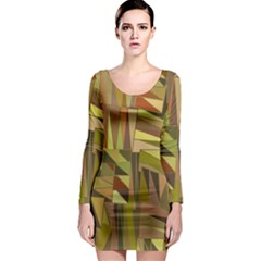 Earth Tones Geometric Shapes Unique Long Sleeve Bodycon Dress