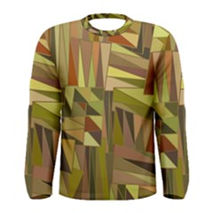 Earth Tones Geometric Shapes Unique Men s Long Sleeve Tee