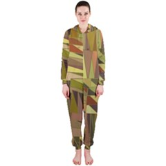 Earth Tones Geometric Shapes Unique Hooded Jumpsuit (Ladies)