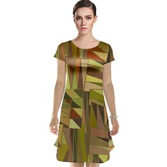 Earth Tones Geometric Shapes Unique Cap Sleeve Nightdress