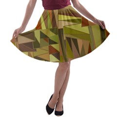 Earth Tones Geometric Shapes Unique A-line Skater Skirt