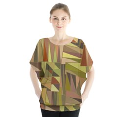 Earth Tones Geometric Shapes Unique Blouse
