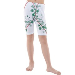 Heart Ranke Nature Romance Plant Kids  Mid Length Swim Shorts