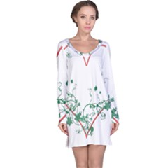 Heart Ranke Nature Romance Plant Long Sleeve Nightdress