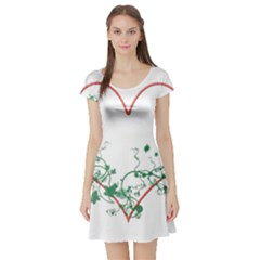 Heart Ranke Nature Romance Plant Short Sleeve Skater Dress