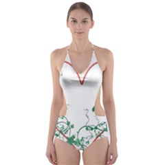 Heart Ranke Nature Romance Plant Cut-Out One Piece Swimsuit