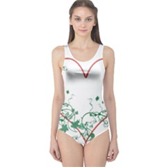 Heart Ranke Nature Romance Plant One Piece Swimsuit