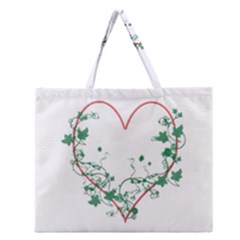 Heart Ranke Nature Romance Plant Zipper Large Tote Bag