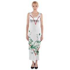 Heart Ranke Nature Romance Plant Fitted Maxi Dress