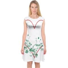 Heart Ranke Nature Romance Plant Capsleeve Midi Dress