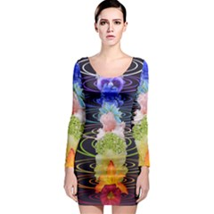 Chakra Spiritual Flower Energy Long Sleeve Bodycon Dress