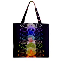 Chakra Spiritual Flower Energy Zipper Grocery Tote Bag