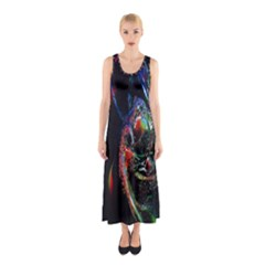 Abstraction Dive From Inside Sleeveless Maxi Dress