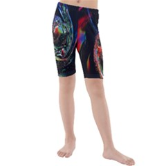 Abstraction Dive From Inside Kids  Mid Length Swim Shorts